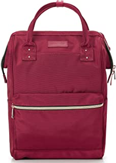 Lily & Drew Casual Travel Daypack School Backpack for Men Women and 13 Inch Laptop Computer, with Wide Doctor Style Top Opening (V4 Red2 Medium)