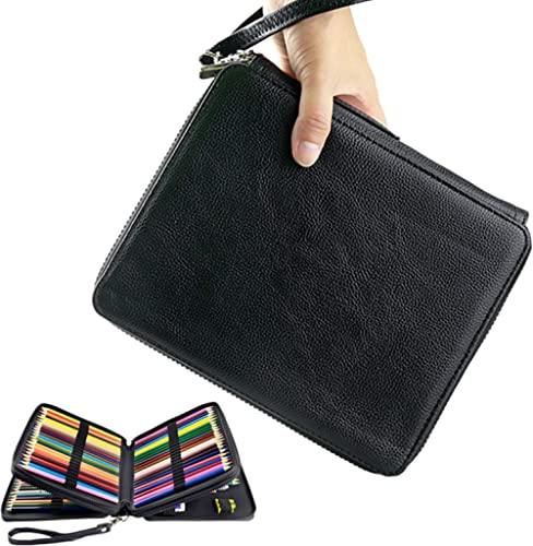 YOUSHARES 120 Slots Pencil Case - PU Leather Handy Multi-Layer Large Zipper Pen Bag with Handle Strap for Prismacolor...