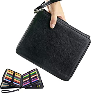 YOUSHARES 120 Slots Pencil Case - PU Leather Handy Multi-Layer Large Zipper Pen Bag with Handle Strap for Prismacolor Wate...