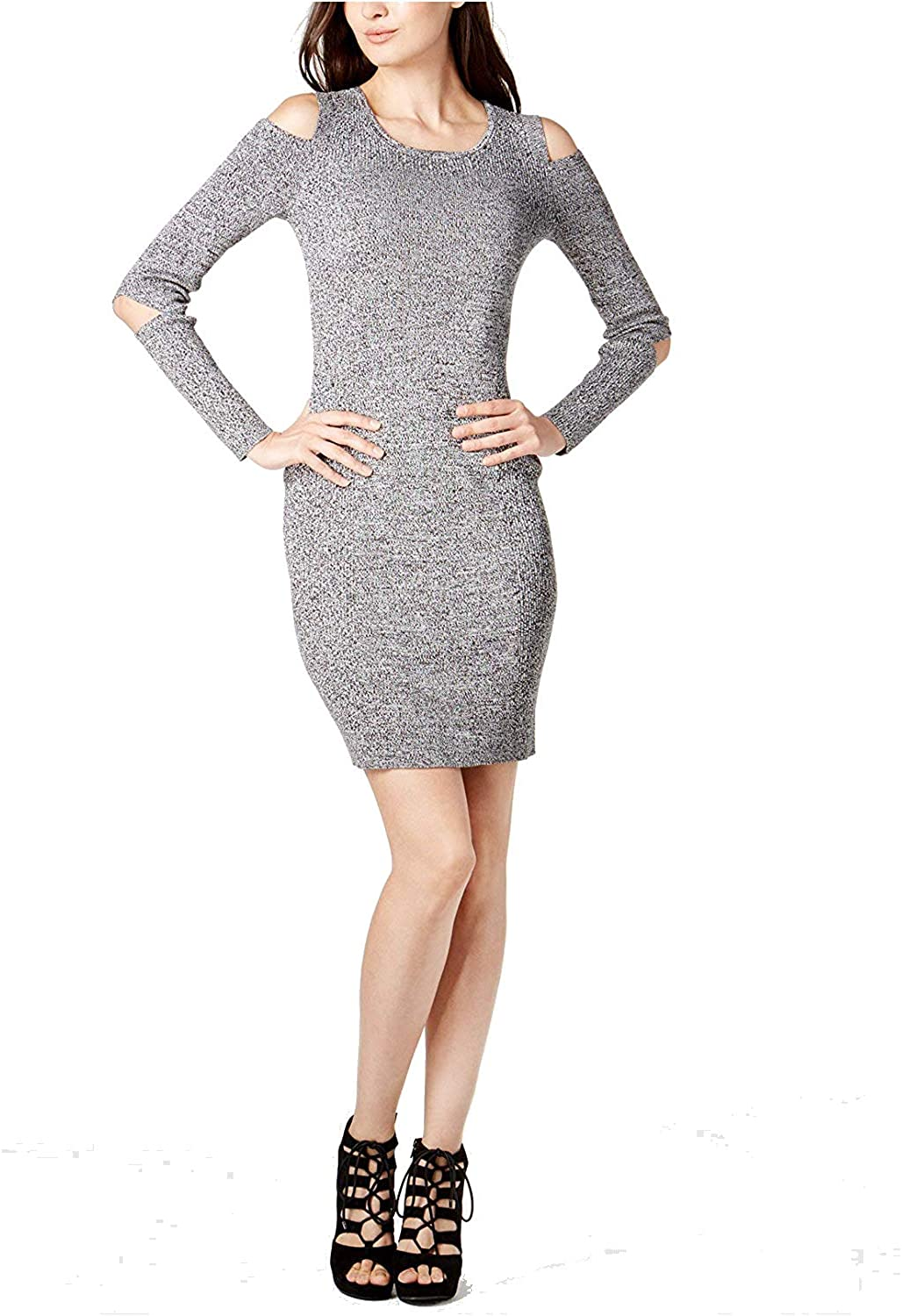 Bar III Women's Cutout Bodycon Sweater Dress Grey Combo XXL