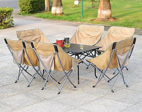 KOKR Table de Camping Pliante Portable + Chaises Pliantes + 1 Sac de Transport (Sept Pièces)