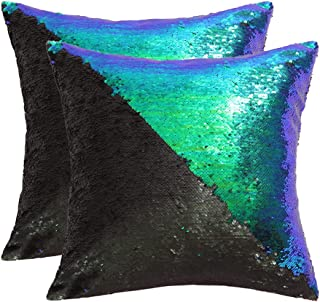 SquarePie Reversible Sequin Pillow Covers Set of 2, Mermaid Decorative Pillowcases, Magic Color Changing Flip Sequin Throw...
