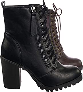 Malia Round Toe Stacked Lug Heel Lace Up Ankle Booties