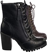 SODA Malia Round Toe Stacked Lug Heel Lace Up Ankle Booties