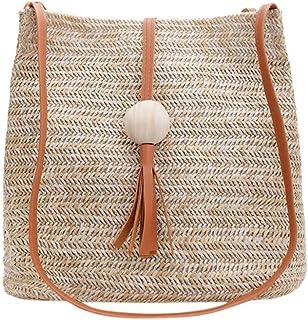 GSERA Handtasche Frauen Stroh Gewebte Umhängetasche Quaste Wilde Umhängetaschen Solid Color Casual Strandtaschen
