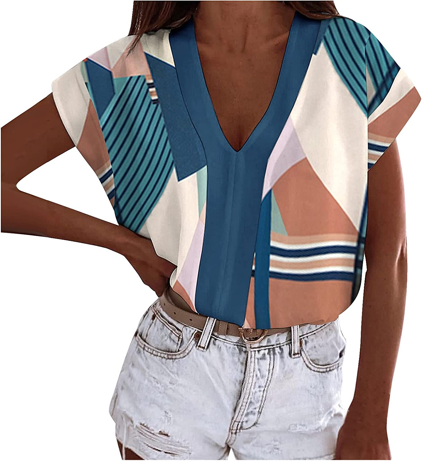 Afelkas Tshirts for Women Summer Color Block Stitching Printed Blouse V-Neck Short-Sleeve Tunic Lightweight Loose Tees