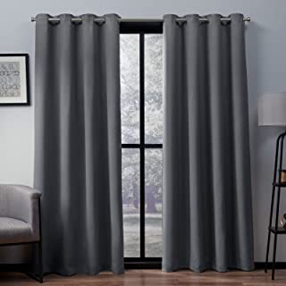 Exclusive Home Heath Textured Linen Window Curtain Panel Pair with Grommet Top 52x96 Black Pearl 2 Piece