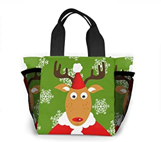 Lunch Bag Christmas-merry-christmas-santa-santa-claus-reindeer-snowflake For Men Women, Meal Lunch Tote Handbag Food Boxes, Durable Pouch For Outdoor