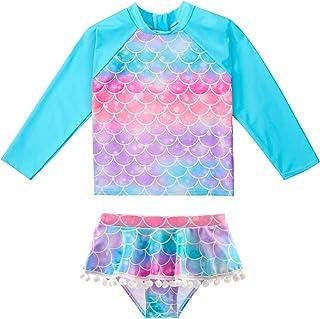 MHJY Girls Rash Guard Swimsuit Set 2-Piece Long Sleeve Bikini Swimwear Bathing Suit