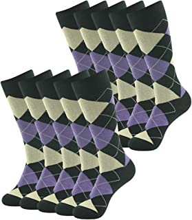 SUTTOS Men's Casual Dress Crew Socks 10 Pairs Argyle Diamond Striped Long Tube Gift Sock