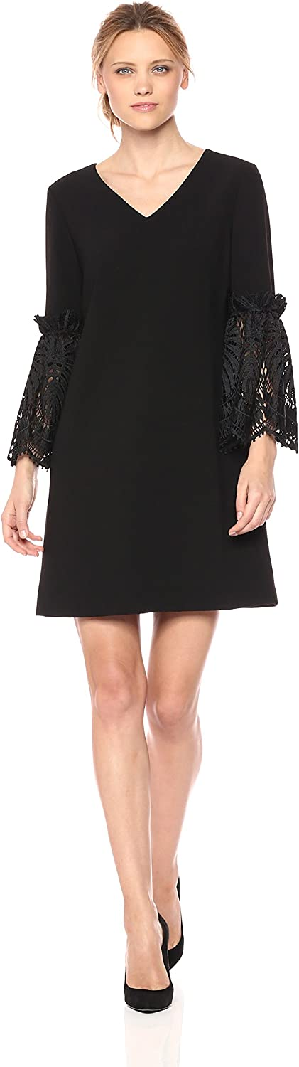 Tahari Womens V Neck Shift Dress with Lace Bell Sleeve Details Dress