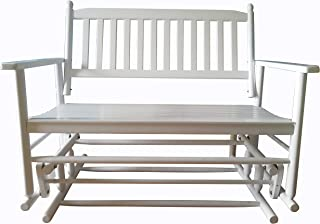 Sponsored Ad - Rockingrocker - A058WT White Porch Wood Glider Bench Rocker Patio Wooden Loveseat — Assembled Dimensions:W4...