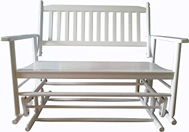 Rockingrocker - A058WT White Porch Wood Glider Bench Rocker Patio Wooden Loveseat — Assembled Dimensions:W49.21 x H40.16 x D2