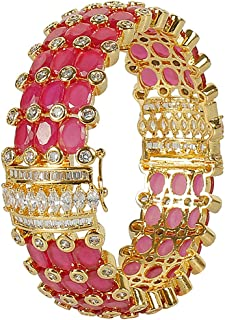 40073e026a8 Muchmore Pink White Gold Plated Ruby Stone Made Diamond Look Bangle for  Women