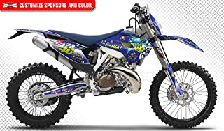 Kungfu Graphics Custom Decal Kit for Husqvarna TC FC 125 250 350 450 2015, Blue, Style 039