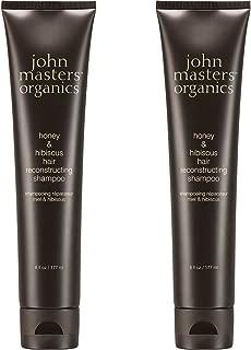 John Masters Organics Honey & Hibiscus Hair Reconstructing Shampoo (Pack of 2) with Certified Organic Aloe Vera Leaf Juice, Jojoba Seed Oil, Irish Moss Extract and Bergamot Fruit Oil, 6 fl. oz.