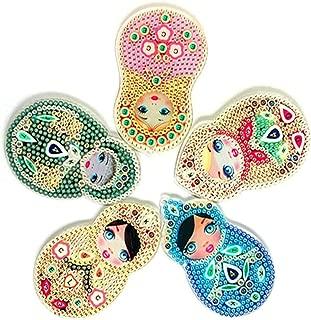 UPMALL 5D Diamond Painting Kit Keychain, 5Pcs DIY Handmade Full Diamond Painting Decorative Accessories Russian Dolls Crafts
