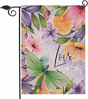 Hzppyz Love More Spring Summer Garden Flag Double Sided, Flower Blossom Dragonfly Decorative House Yard Outdoor Small Burl...