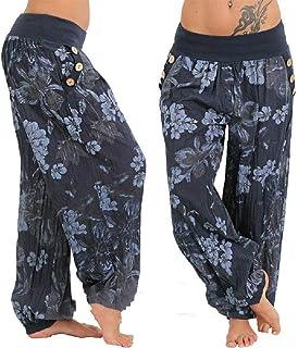 Pantalones de Verano para Mujer Pantalones de harén con Estampado Bohemio Pantalones de Pierna Ancha de Cintura Baja para Mujer Pantalones Sueltos Casuales Talla Grande 5XL