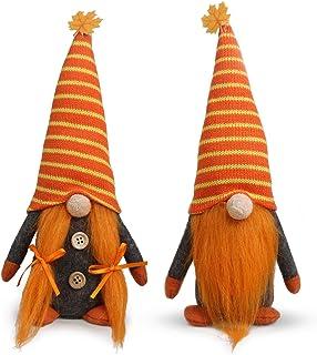 Tifeson Mr and Mrs Fall Gnome Plush Thanksgiving Decorations - 2 Pcs Handmade Swedish Gnomes Plush Elf Scandinavian Autumn Tomte - Thanksgiving Table Ornament, Housewarming Present
