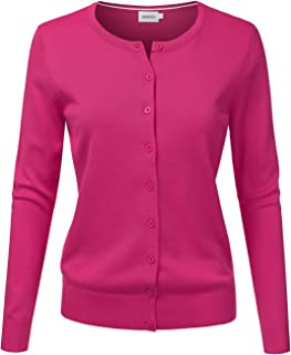 Womens Long Sleeve Button Down Soft Knit Cardigan Sweater XL, Awocal0210_hotpink