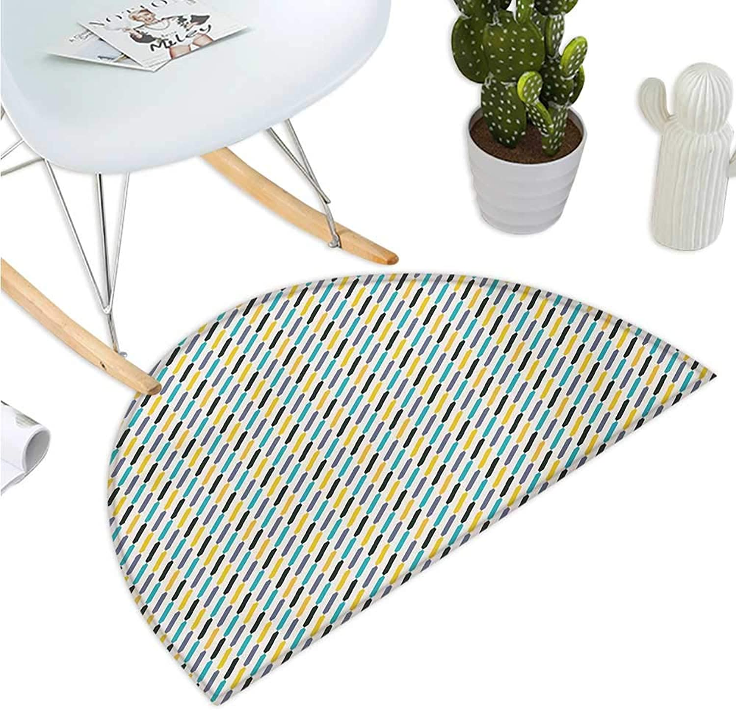 Modern Semicircular Cushion Diagonal Stylized Different colord Lines Striped Vintage Vibrant Halfmoon doormats H 51.1  xD 76.7  Yellow Black Sky bluee Purple