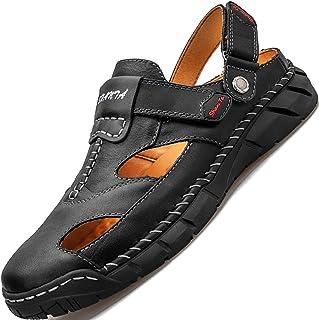 GILKUO Sandales Homme Cuir Bout Fermé Été Confort Sandales de Marche