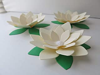 3 Ivory Lotus Flowers, 4 Inches Water Lily Floral Embellishments, Classic Wedding Decorations, Elegant Table Decor Ideas