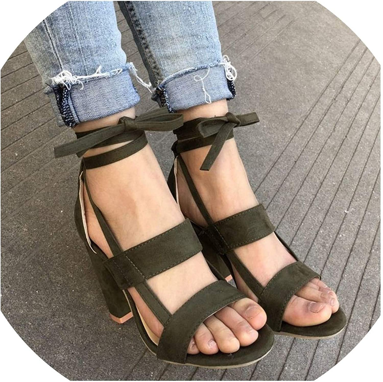 bluee-shore shoes Woman Ladies Sandals High Heel Gladiator Cross-Tied Lace-Up Casual Ankle Strap Sandals