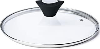 ETHDA Tempered Glass Lid, Fits Cookware of 12 Inch, Universal Replacement for Frying Pan,Pot,Cast Iron Skillets,Wok, Round, Transparent, with Steam Vent Hole, Bakelite Handle Knob (30cm)