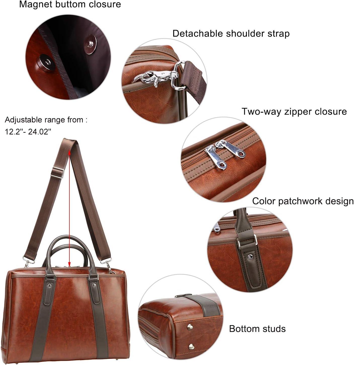 Ronts Vintage PU Leather Laptop Briefcase for Men Women Business Messenger Bags Shoulder Handbags Work Satchel Bag Attache Case