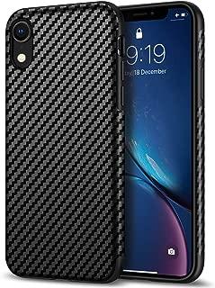 Tasikar Compatible with iPhone XR Case Good Grip Slim Carbon Fiber Leather Case for iPhone XR (2018) - Black