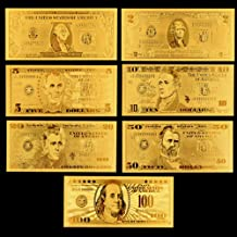 Peyan 7pcs/Set USA President Donald Trump $100/50/20/10/5/2/1 Gold Foil Banknote for Collection Commemorative 45th President of USA