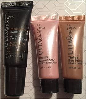 Ulta Beauty Mattifying Face Primer, Peach Glow Tinted Eye Primer & Northern Lights Liquid Illuminator ~ Mini/Travel Size Trio
