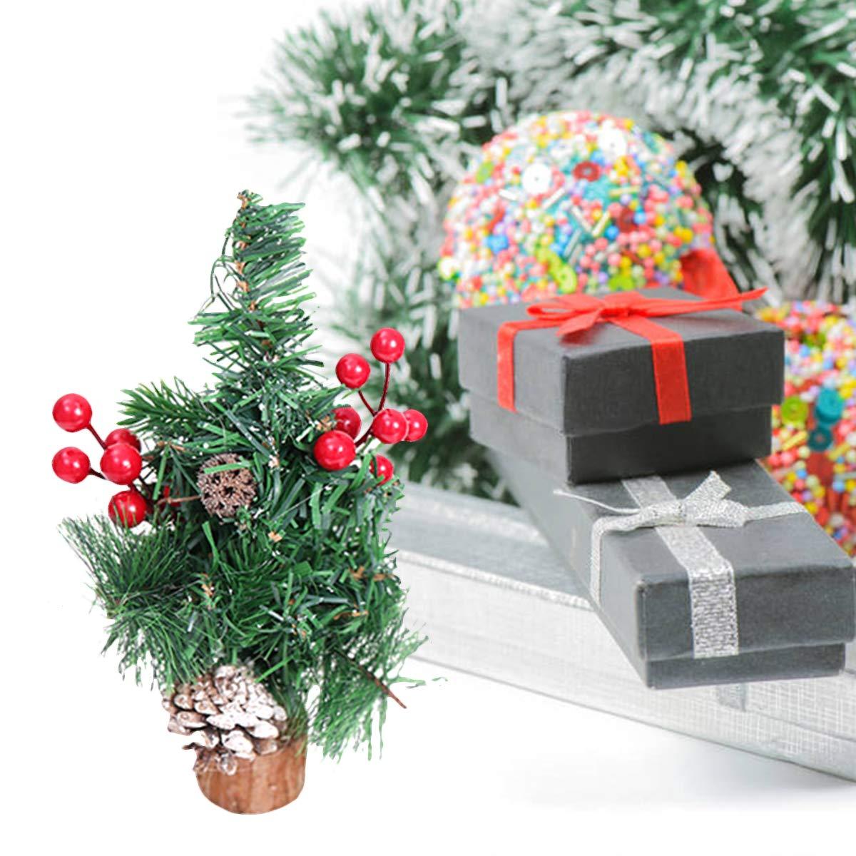 BESTOYARD Mesa Mini árbol de Navidad con Navidad Holy Berry Pine Cono Base de Madera Decoración Navidad Adornos Suministros para Fiestas navideñas: Amazon.es: Hogar