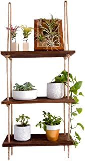 SG Rope Hanging Wall Shelf - 3 Tier Floating Shelves - Rustic Wood Mounted Decorative & Storage Shelf - Wooden Decor Display Ledge for Bathroom, Kitchen, Bedroom, Office and Living Room