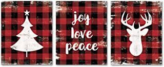 SUMGAR Christmas Wall Art Prints Unframed 8x10 Red Black Buffalo Posters Quotes Pictures Artwork Set of 3