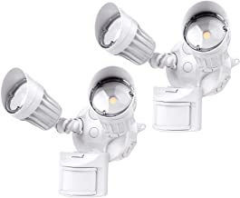 Hyperikon LED White Security Light with Motion Sensor, 20W (100 Watt), Outdoor Flood Light Dusk to Dawn, 5000K, 2 Head IP65, 2 Pack