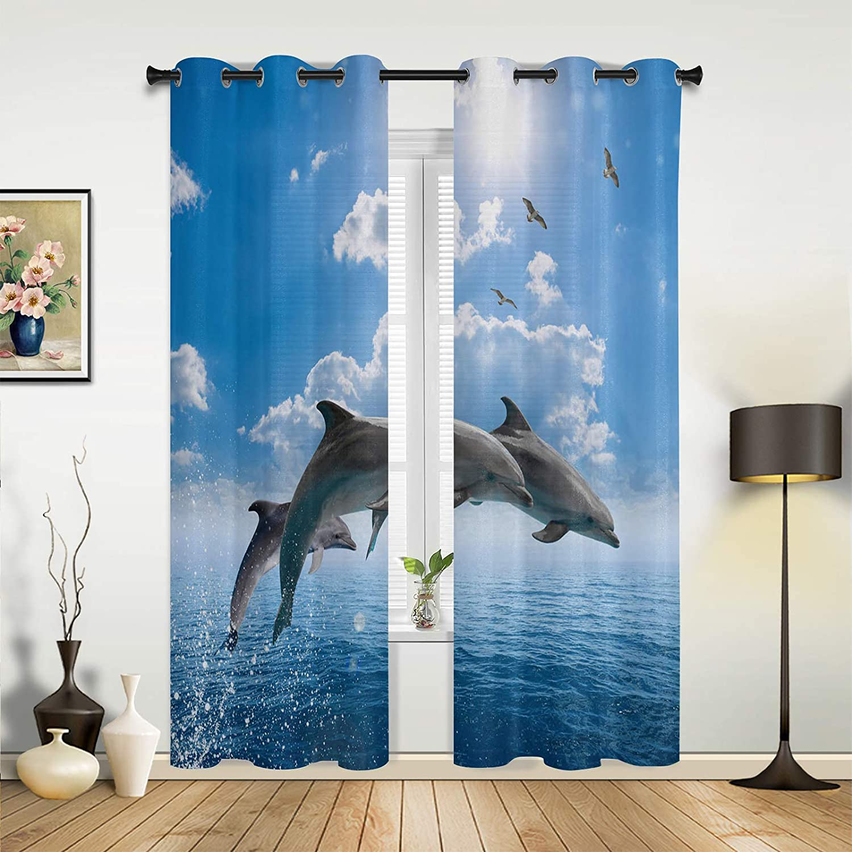 Window New arrival Sheer Curtains for Bedroom Living Coastal Atlanta Mall Cute Dolp Ocean