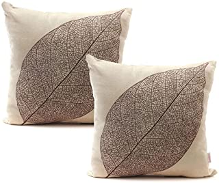 Luxbon Set of 2Pcs Rustic Farmhouse Leaves Decor Cotton Linen Throw Pillow Cases Sofa..