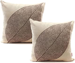 """Luxbon Set of 2Pcs Rustic Farmhouse Leaves Decor Cotton Linen Throw Pillow Cases Sofa Couch Chair Decorative Cushion Covers 18""""x18"""" / 45x45cm Insert Not Included"""