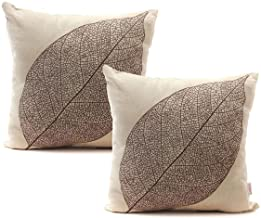 Luxbon Set of 2Pcs Rustic Farmhouse Leaves Decor Cotton Linen Throw Pillow Cases Sofa Couch Chair Decorative Cushion Cover...
