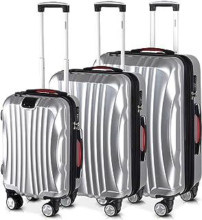 Monzana Set de 3 valises rigides Ikarus M/L/XL Argent - Port USB - Vacances Voyage