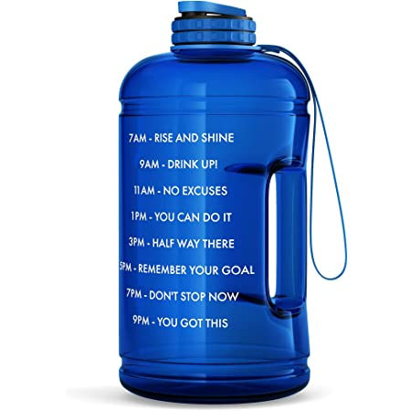 Details about  /Large 1 Gallon Motivational Water Bottle 128oz Clear Water Jug Hydration Workout