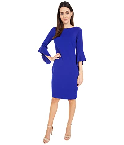 Vince Camuto Textured Crepe Bodycon with Novelty Sleeve (Cobalt) Women