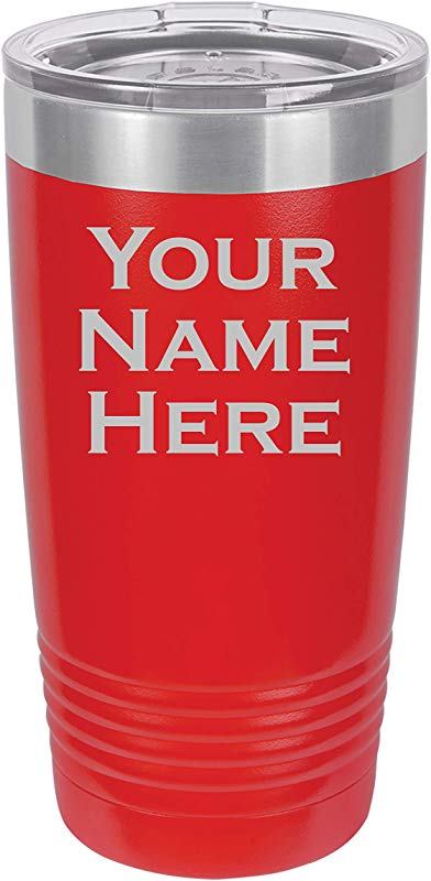 Custom Engraved Tumbler 20 Ounce Vacuum Insulated Stainless Steel Drink Beverage Travel Mug Personalized With Your Name Or Text Customize Now Red
