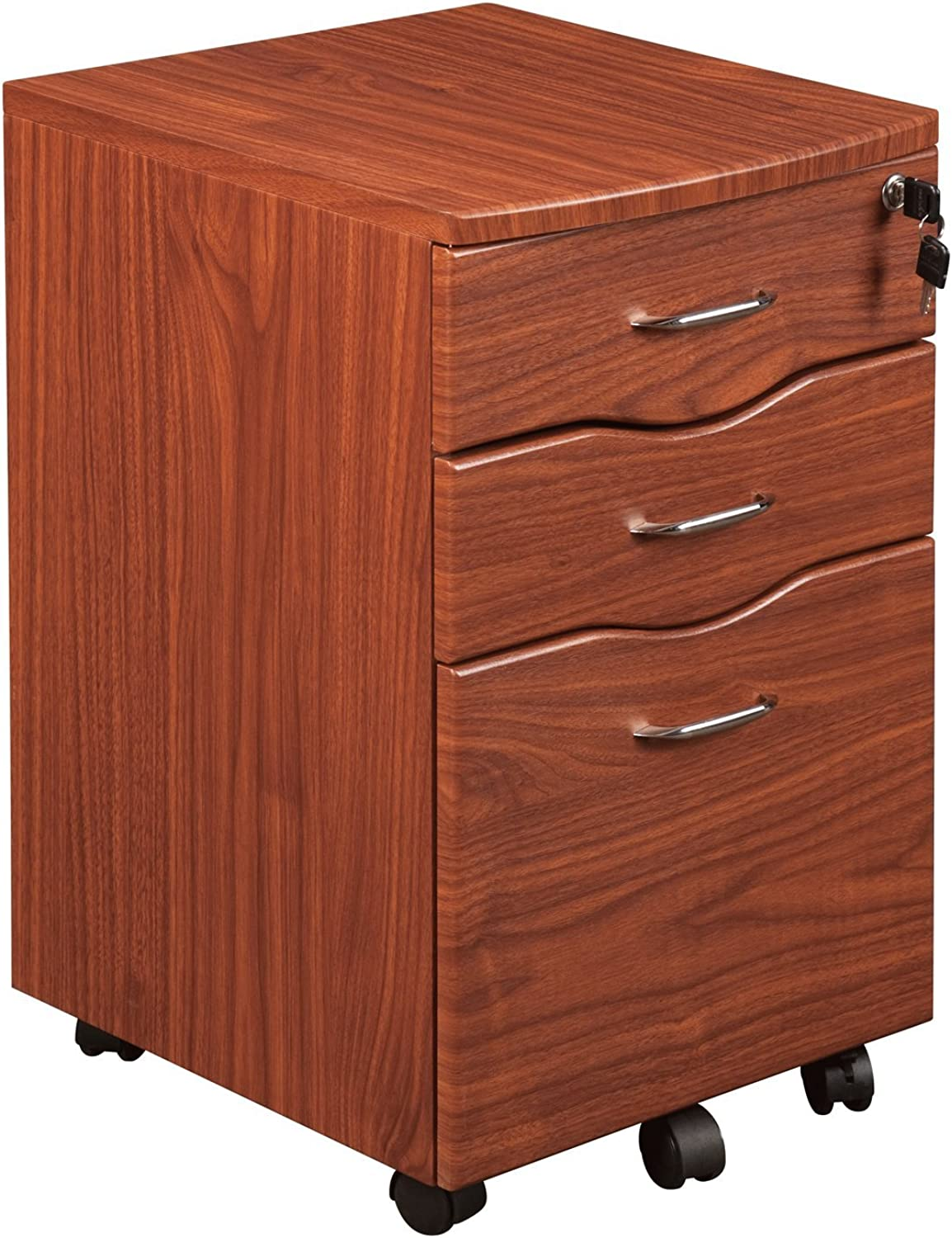 Techni Mobili Rolling File Cabinet with Storage, Mahogany
