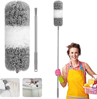 Feather Duster, Necomi Improved Long Pole Duster (30 to100 inches), Microfiber Bendable Head & Scratch-Resistant Hat for C...