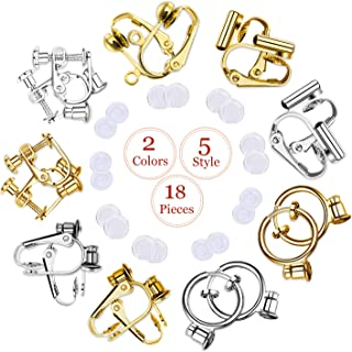 Clip-on Earrings Converter Components with Post for Non-Pierced Ears DIY Comfort Earring Pads for Women or Girls 2 Colors 5 Style 18 Pieces