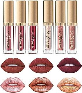 Matte Nude Lipstick Set & Liquid Glitter Lipstick Set, Coosa Waterproof Long Lasting Highly Pigmented Liquid Lipsticks Non-Stick Cup Lipstick Set - 6PC